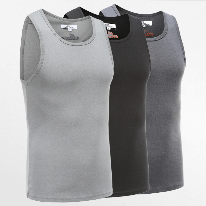 Tank Top singlet action set of 3 in black, gray and anthracite | Ollies Fashion