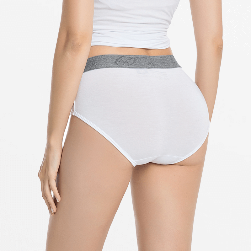 Bamboo underwear ladies pantie white with gray band