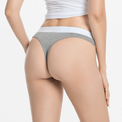 String woman tanga gray bamboo with wide band
