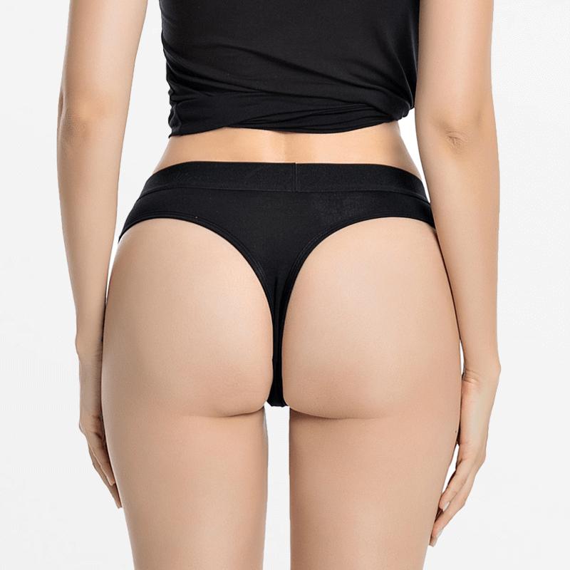 String Bamboe zwart dames | Ollies Fashion
