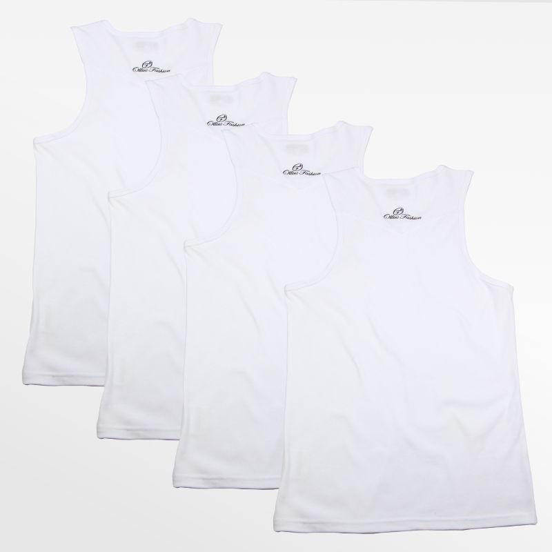 Tank Top singlet mens action 4 pieces white | Ollies Fashion