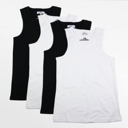 Tank Top männer aktion 4 stück schwarz und weiß | Ollies Fashion
