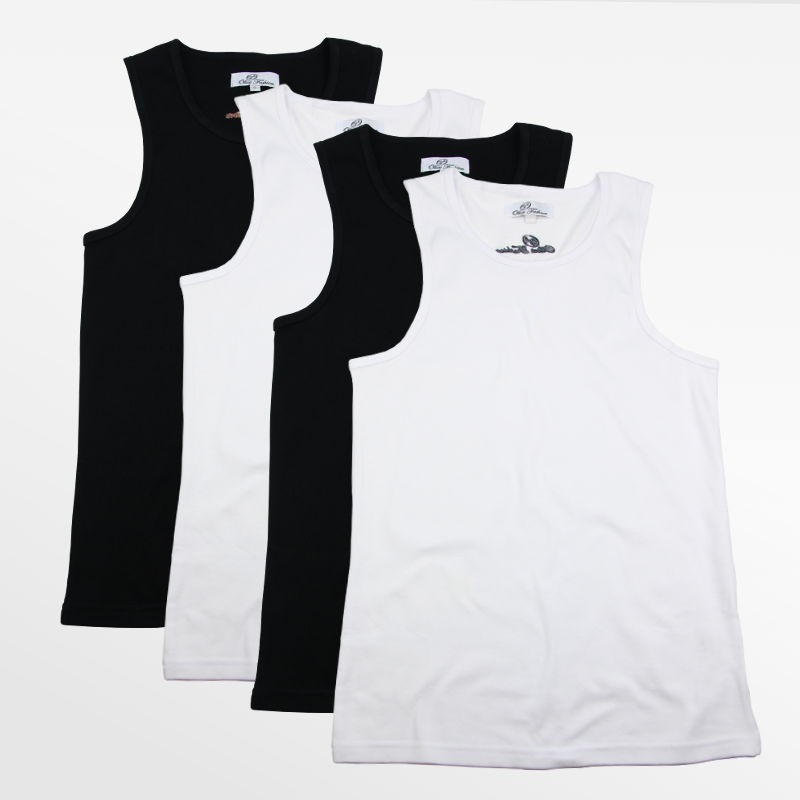 Tank Top men's action 4 pieces black and white | Ollies Fashion