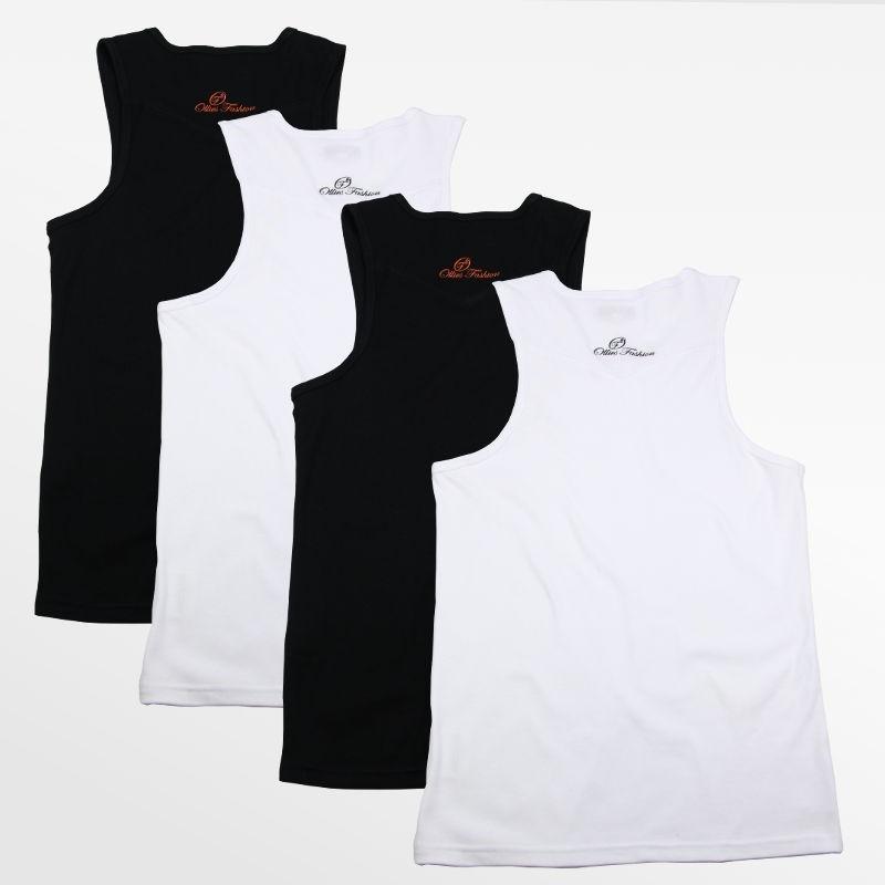 Tank Top heren actie set van 4 stuks zwart en wit | Ollies Fashion