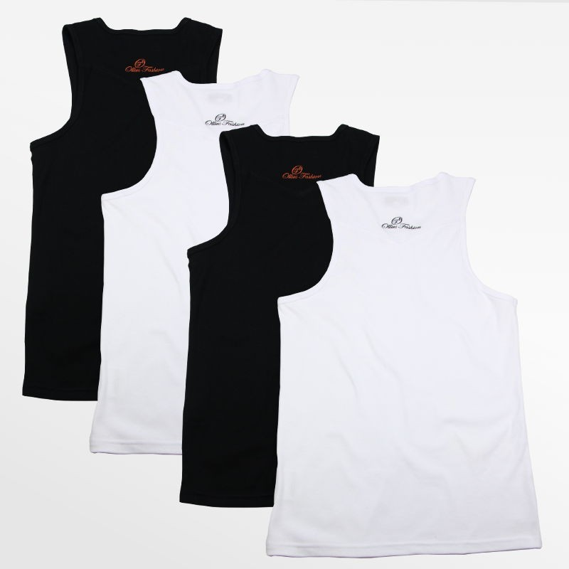 Tank Top men's action set of 4 pieces black and white | Ollies Fashion