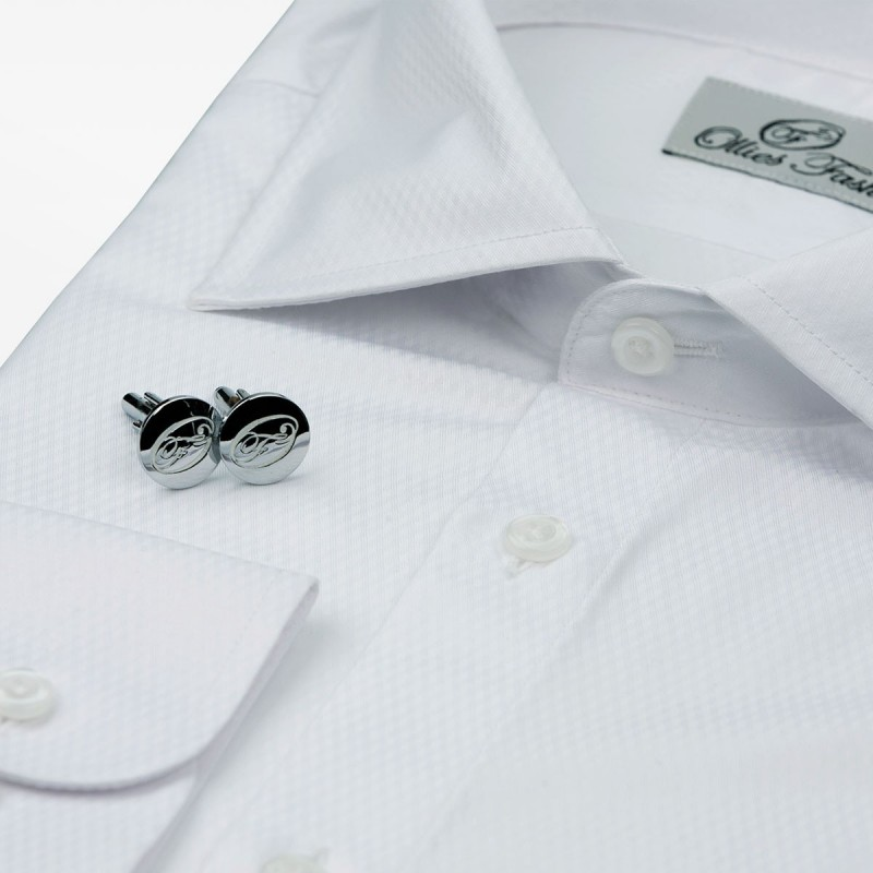 Men's shirt white non-iron, with cuff buttons | Ollies Fashion