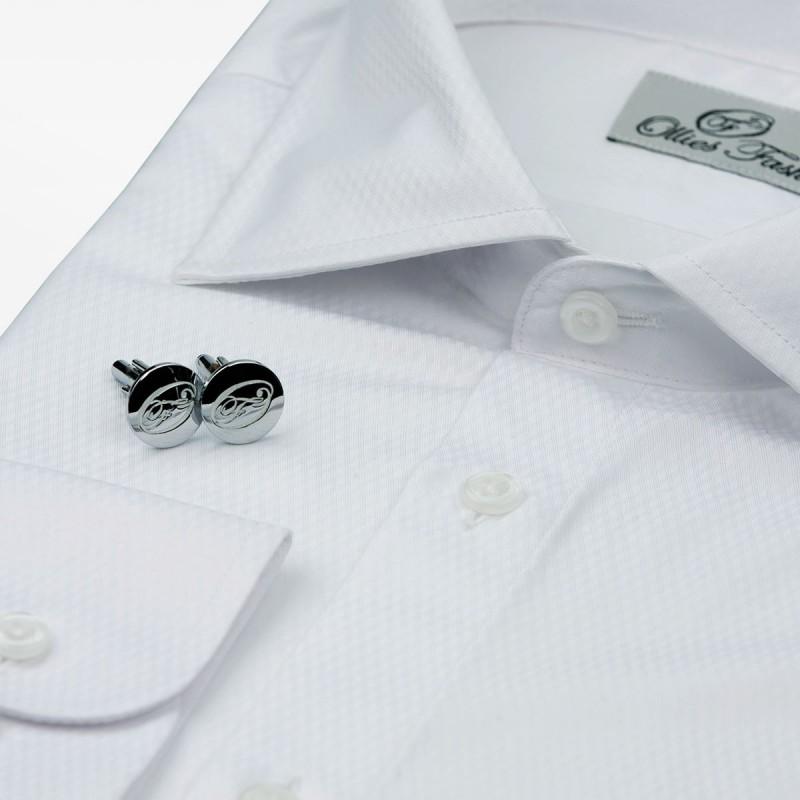 Men's shirt white non-iron, with cuff buttons | Ollies Fashion