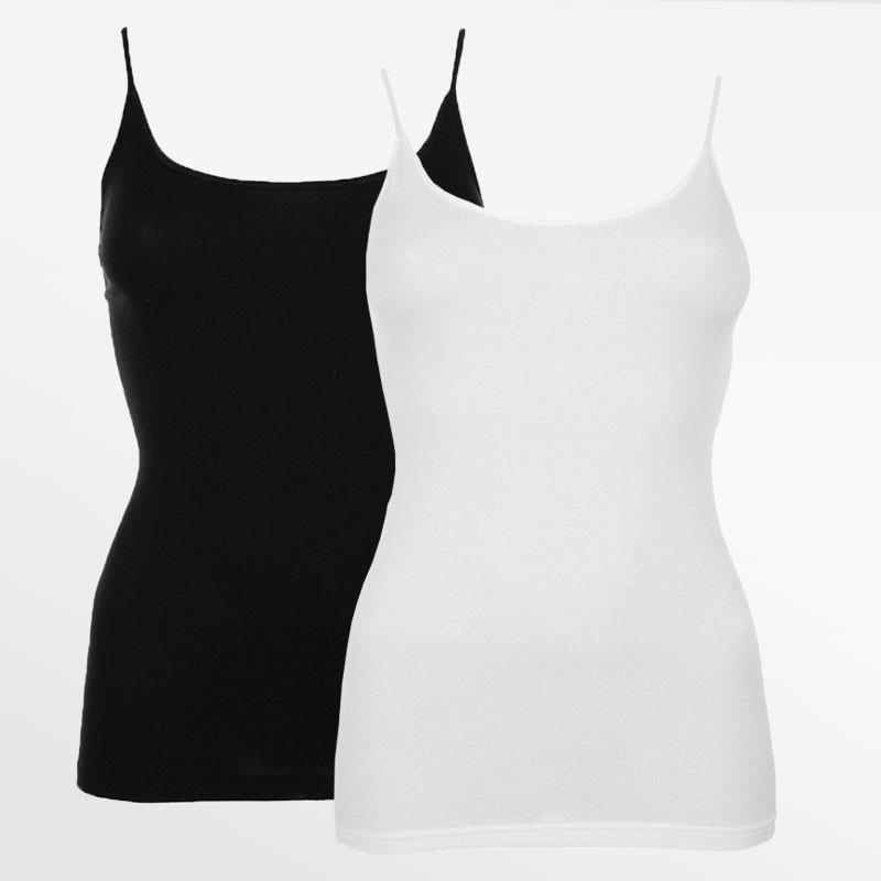 Spaghetti hemdchen set, 95% bambus schwarz und weiß 2 stück | Ollies Fashion