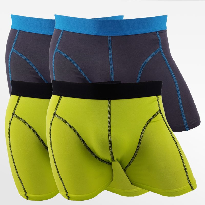 Boxershorts bamboe men's underwear antraciet en groen  4 pack | Ollies Fashion