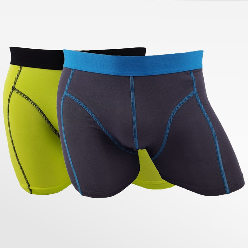 Boxer shorts bambou 2 pack hommes vert et anthracite | Ollies Fashion