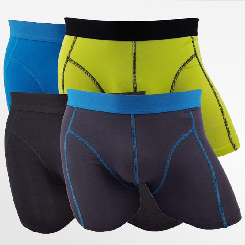 Boxer shorts bamboo men green, blue, black and anthracite 4 pack | Ollies Fashion