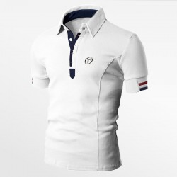 Polo men's pique cotton white with logo embroidery | Ollies Fashion