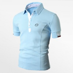 Polo heren pique katoen bleu | Ollies Fashion