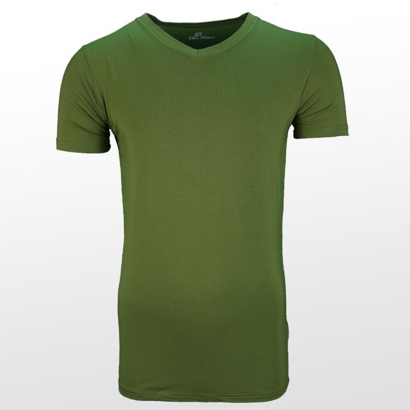 T-shirt en bambou Vert devant | Ollies Fashion