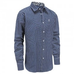 Shirt men blue white checked, loose fit Ollies Fashion