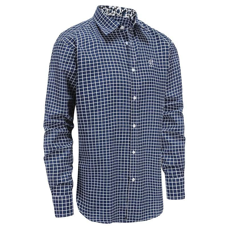 Chemise homme bleu blanc à carreaux, coupe ample Ollies Fashion