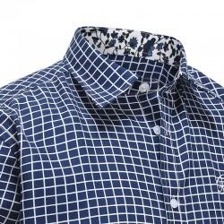 Overhemd heren blauw witte ruit, met gekleurde kraag