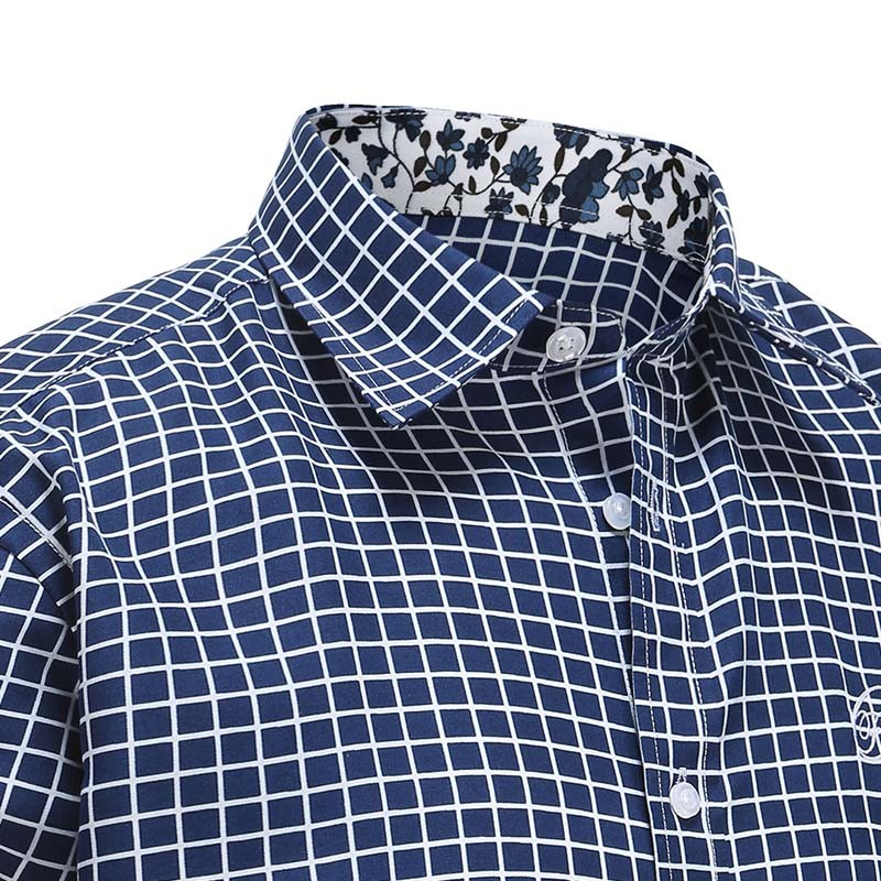 Men's shirt blue diamond white, with colored collar