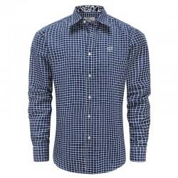 Shirt men blue white checked, loose fit Ollies Fashion