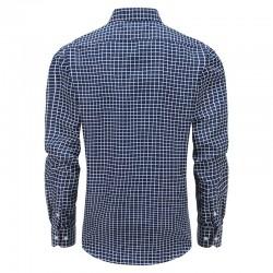 Overhemd heren blauw witte ruit, met ronde achterpand