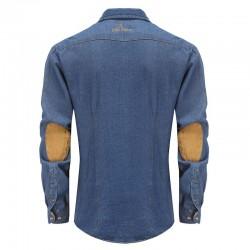 Shirt Herren Jeans mit beigen Ellbogen Patches