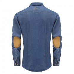 Shirt men's denim jeans with beige elbow patches