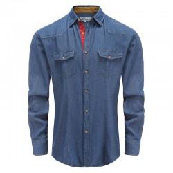 Chemise en jean pour hommes avec bordure beige Ollies Fashion