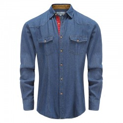 Men's denim shirt with beige trim Ollies Fashion