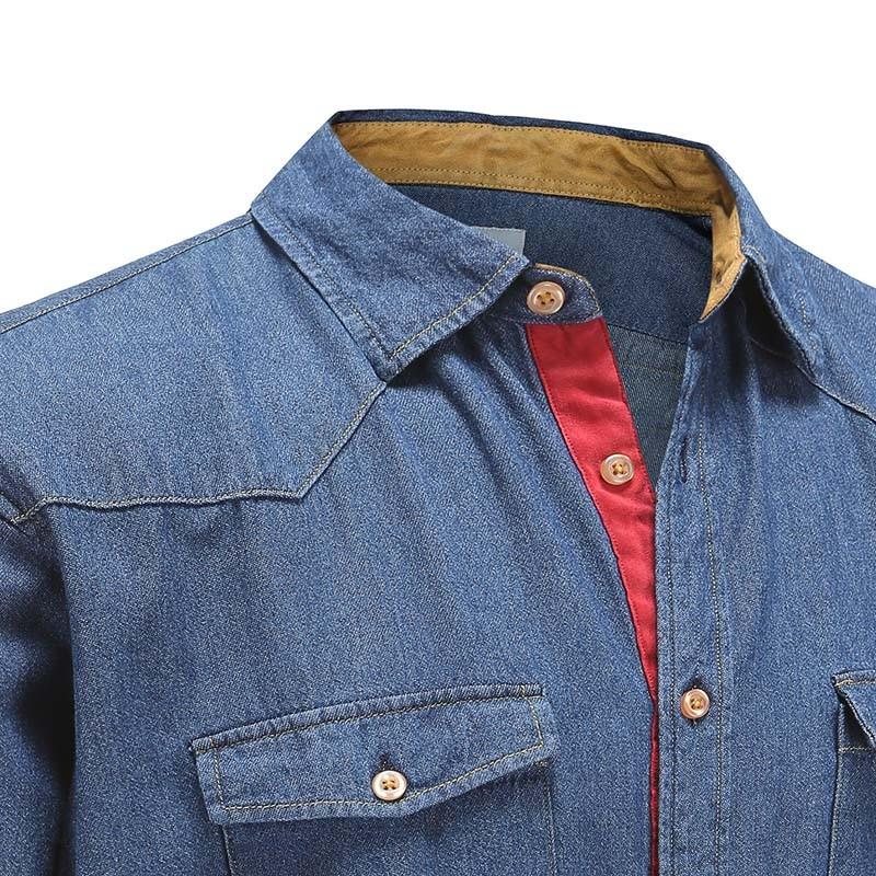 Overhemd heren spijker stof denim blauw Ollies Fashion