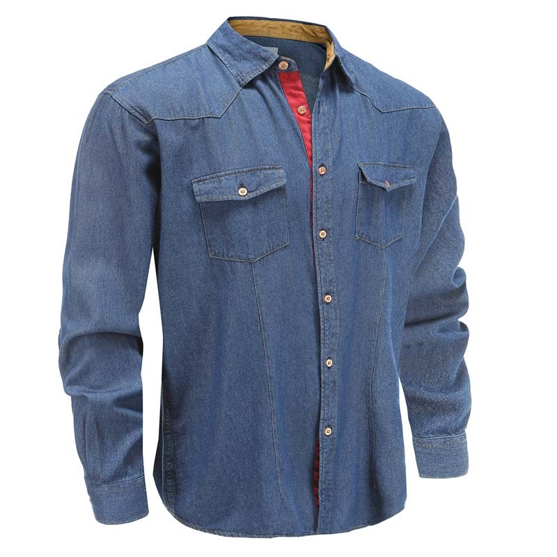 Denim blouse blue loose fit with chest pocket Ollies Fashion