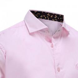 Overhemd heren roze met donker kraag Ollies Fashion