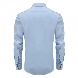 shirt hommes double col bleu, dos rond
