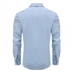 Overhemd heren blauw dubbele kraag, met ronde achterpand
