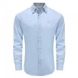 Overhemd heren lichtblauw dubbele kraag Ollies Fashion