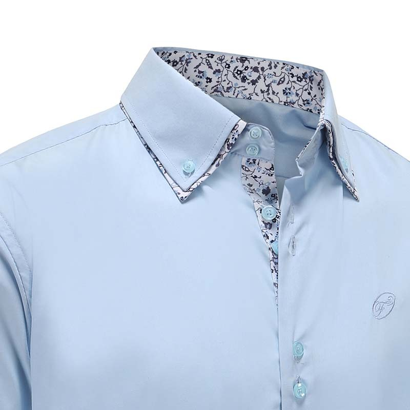 Men's shirt light blue button down, with buttons Ollies Fashion
