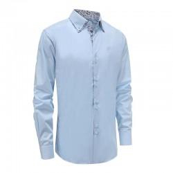 Shirt men light blue double collar Loose fit | Ollies Fashion