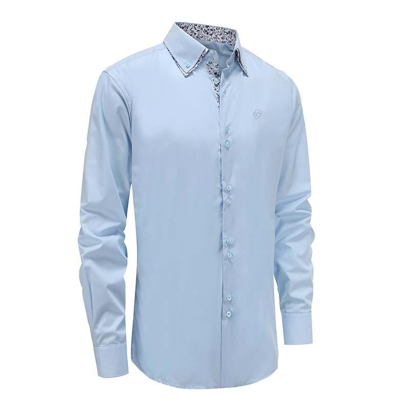 Hemd mann hellblau doppelkragen locker geschnitten Ollies Fashion