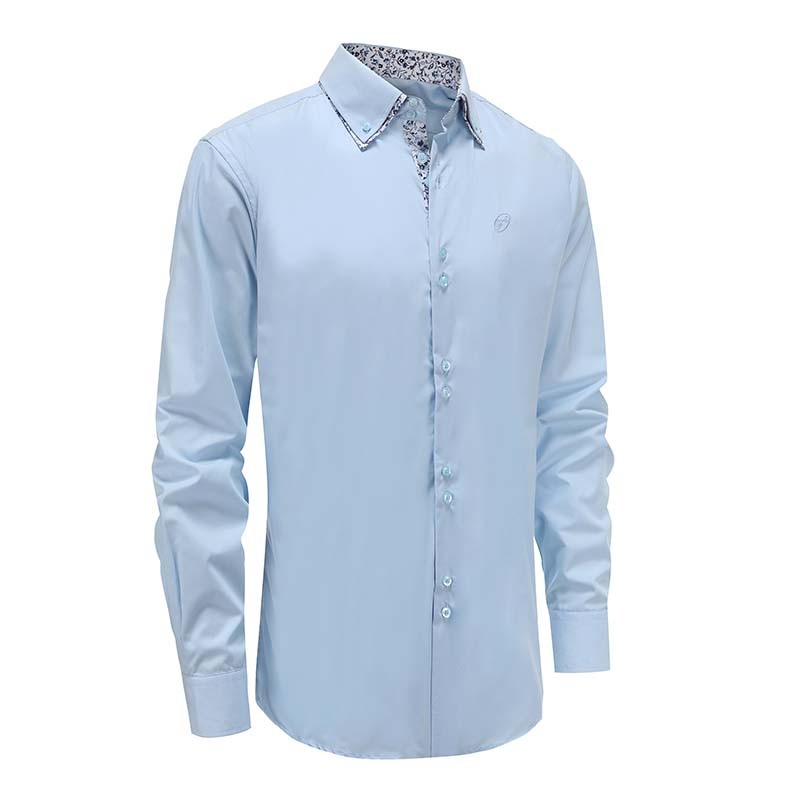 Shirt men light blue double collar Loose fit | Ollies Fashion