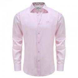 Overhemd heren roze poplin met bloemetjes kraag Ollies Fashion