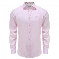 Shirt men pink poplin with flowers collar Ollies Fashion