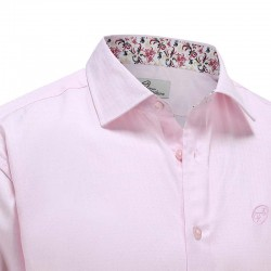 Chemise hommes popeline rose Ollies Fashion