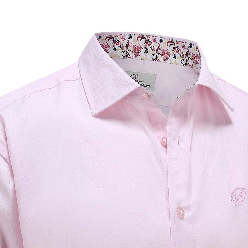 Chemise hommes popeline rose Ollies Fashion