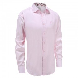 Shirt men pink poplin loose fit Ollies Fashion