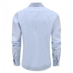 Overhemd heren blauw, met ronde achterpand Ollies Fashion