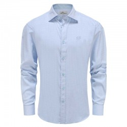 Shirt men loose fit light blue check Ollies Fashion