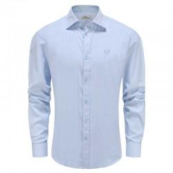 Shirt men loose fit light blue check Ollies Fashion