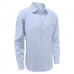 Overhemd heren lichtblauw ruit, brede kraag Ollies Fashion