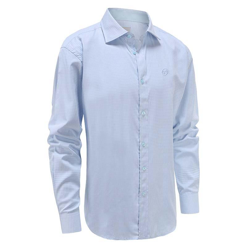 Hemd männer hellblauer diamant, breiter Kragen Ollies Fashion