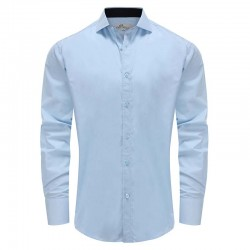 Chemise homme bleu col large Ollies Fashion