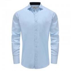 Herrenhemd hellblaues, weit ausgebreitetes Brett Ollies Fashion